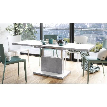 ASTON fehér beton, összecsukható és kihajtható asztal
